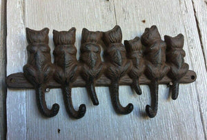 Rustic Cast Iron Hook With 7 Cats Wall Hanger - 4 Tail Hooks