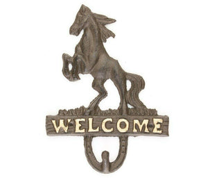 Cast Iron Rustic Ranch HORSE HEAD  HOOK Coat Hooks Rack Towel HorseShoe