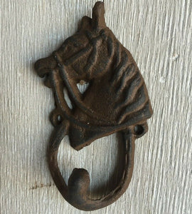 Cast Iron Horse Head Horseshoe Hook Coat Hook.