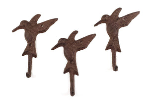 3 Cast Iron HUMMINGBIRD Towel Hanger Coat Hat Hooks, Key Rack GARDEN Hook BIRD , Heavy Duty Metal Decorative , Coat Hook , Hat Hook - Wall Mounted , Wall Hook , Coat Hanger ,Single Hooks for Bath