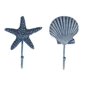 Blue Starfish and Sea Shell Coat Hooks