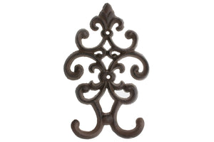 "Cast Iron Vintage Double Wall Hook | Decorative Wall Mounted Coat Hanger | 7.75""x4.8"" 