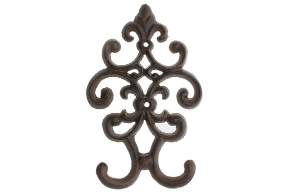 Cast Iron Vintage Double Wall Hook | Decorative Wall Mounted Coat Hanger | 7.75