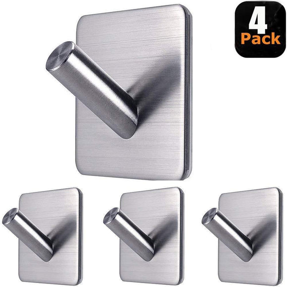 Fotosnow Stainless Steel Powerful Adhesive Hooks - 4 Pack