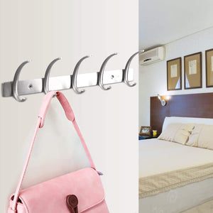 Dreamsbaku Wall Mounted Coat Hooks Rail Robe Towel Racks 5 Tri-Hooks for Kitchen Bedroom Stainless Steel
