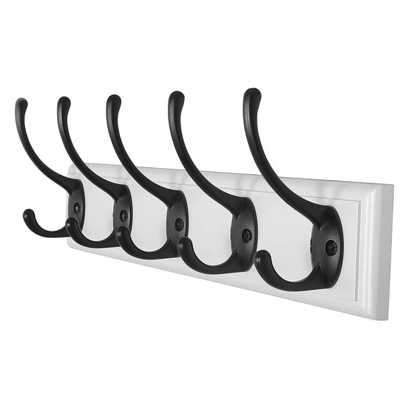 Wall Mounted Coat Rack (DIY) - Wood Board with 5 Double Metal Hooks - Heavy Duty Vintage Rustic Coat Hook Rail for Coat Hat Towels Robes Keys Entryway Mudroom, MU-YD-BBHG51, White & Black