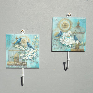 Pair of Coat Hooks - Blue Bird of Paris