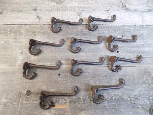 10 Cast Iron Rustic Acorn School Hat Coat Rack Hall Tree Hooks 3 1/2