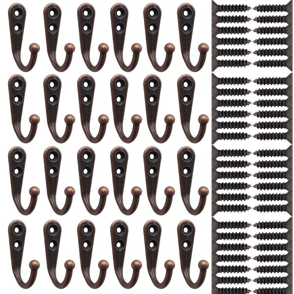 24 Pieces Coat Hooks Wall Mounted Single Coat Hanger and 50 Pieces Screws for Cloakroom, Clothes, Hat, Scarf, Bags, Keys, Shoes, Coffee Cup Holder, Ho