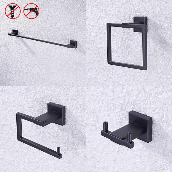 KES SUS 304 Stainless Steel Matte Black 4-Piece Bathroom Accessory Set RUSTPROOF Towel Bar Double Coat Hook Toilet Paper Holder Towel Ring Wall Mount No Drilling Self Adhesive Glue, LA24BKDG-42