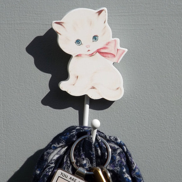 Cute Kitty Cat with a huge pink bow Coat Hook