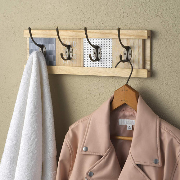 10 Street Home Wall Mount Coat Rack with 4 Adjustable Coat Hooks, for Entryway, Bedroom and Bathroom; Hat Rack, Towel Rack, Natural Wood, Easy to Install
