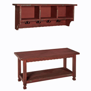 Berkshire Antique Finish Coat Hook and Bench Set