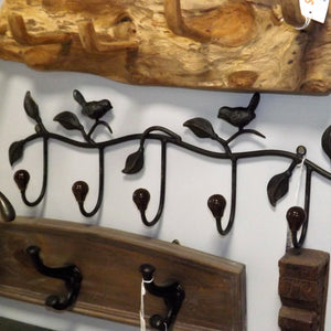 Iron 5 Hook Coat Rack featuring Birds on a Leafy Branch
