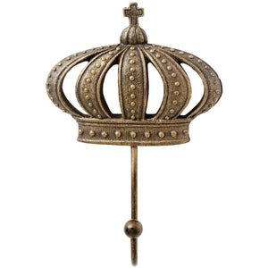 King & Queen Antique Gold Crown Coat Hooks