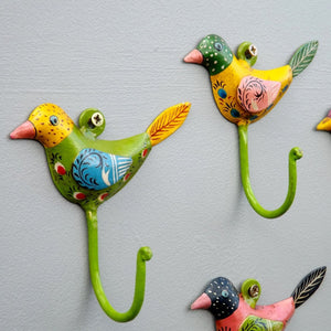 Bright hand painted set of 5 Bird Coat Hooks