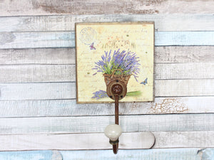 Wooden Lavender Coat Hook with Rustic Metal Hook