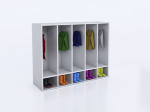Whitney White 5 Section Coat Locker