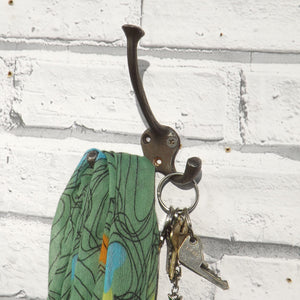 Cast iron, antique vintage wall hook with three arms
