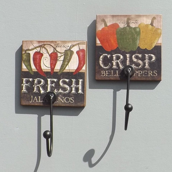 Fresh Crisp Peppers Coat Hooks