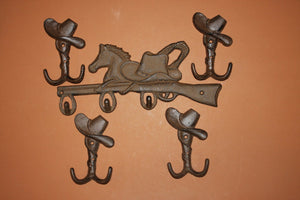 5)pcs, Rustic western wall decor, cowboy ranch coat hook, rustic cowboy hat hook,horse lover decor,Cast iron, Free shipping, W-12,6
