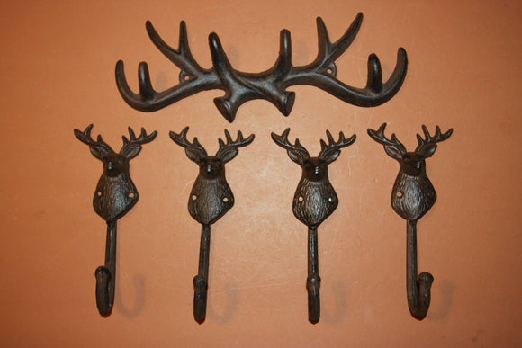 5) Rustic Vintage-look Cast Iron Antler Deer Head Wall Hooks, Free Shipping, Deer Hunter Mud Room Coat Hooks, Deer Hat Hooks