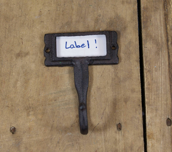 Cast Iron Coat Hook with Label Slot