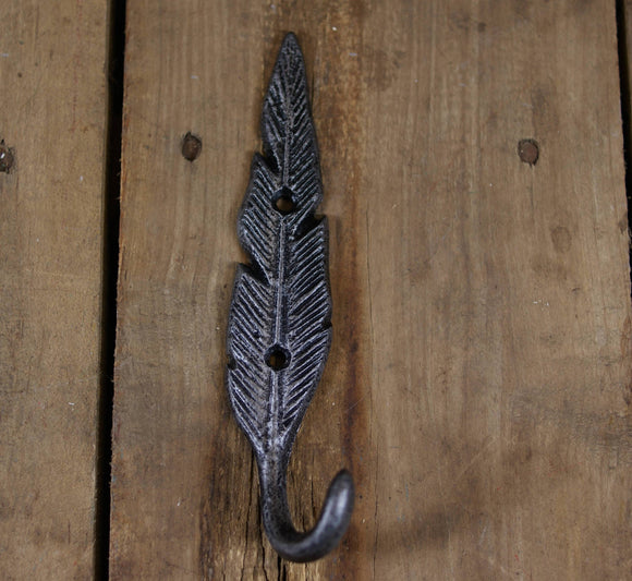 Cast Iron Black and Silver Feather Coat Hook
