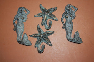 4) Mystical Mermaid Purse Jacket Wall Hook Set, Starfish Coat Hooks, Antiqued Look Cast Iron Bronzed Look Finish, Set of 4
