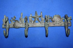 "Seahorse Coat Hooks Bar, Bronze-look Cast Iron, 11 1/4"" long, Volume Priced, H-32"