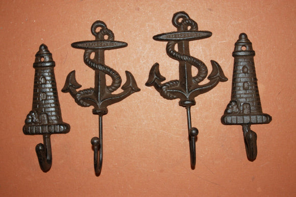 4 pieces) Vintage look anchor wall hooks, free shipping, anchor, lighthouse, maritime, sailor, coat hook, towel hook, N-48,56~