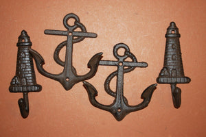 4 pieces) Vintage look anchor towel hooks, free shipping, anchor, lighthouse, maritime, sailor, coat hook, towel hook, N-43, 56~