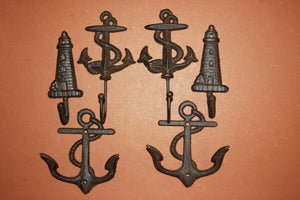 6 pieces) Vintage look anchor wall hooks, free shipping, anchor, lighthouse, maritime, sailor, coat hook, towel hook, N-43,48,56~