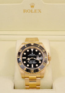 Rolex Submariner 116618LN Date Oyster Perpetual 18k yellow gold