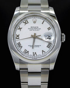 Rolex Datejust 36mm 116200  Oyster Perpetual White Roman Dial