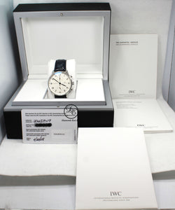 IWC Portuguese iw371417 Chronograph Automatic White Dial Men's Watch BOX/PAPERS