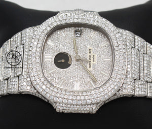 Patek Philippe Nautilus 3710/1A Power Reserve All Iced Out Diamond Pave Dial
