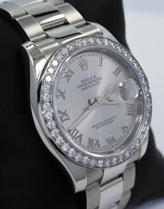 Rolex Datejust 116200 36mm Oyster Perpetual 1.95CT Diamond Bezel Silver Roman Dial PAPERS
