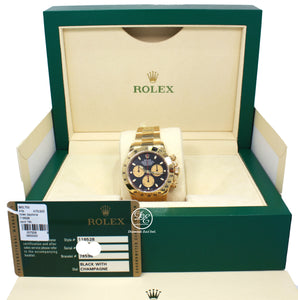 Rolex Daytona 116528 Cosmograph 18K Yellow Gold Black/Champagne Dial BOX/PAPER *MINT*
