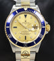 Rolex Submariner 16613 18k Yellow Gold/SS FACTORY SERTI Sapphires/Diamonds BOX/PAPERS
