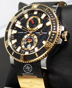 Ulysse Nardin Maxi Marine Diver 265-90 Titanium 18k Rose Gold 45mm Blacl Dial Watch BOX/PAPER