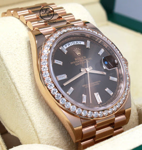 Rolex President 40mm 228345RBR 18K Rose Gold Factory Chocolate Baguette Dial & Diamond Bezel BOX/PAPERS UNWORN
