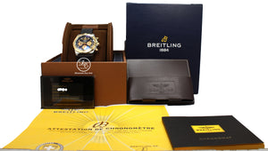 BREITLING Chronomat 44mm CB0110121B1P1 Black Chrono 18K Rose Gold/ SS BOX/PAPERS *NEW*