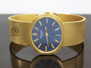 PATEK PHILIPPE Ellipse 3581 18k Yellow Gold Rare Collector's Watch  Make:PATEK PHILIPPE  Model: PATEK PHILIPPE Ellipse 3581 Movement: Manual movement  Material:  18k Yellow Gold  Case Size: 32mm Dial: Blue Bezel: 18k Yellow Gold Hobnail  Bracelet: Patek Philippe 18k yellow gold Band, Fits up to a 7'' wrist.  No box/papers, will be shipped in a beautiful watch Box and Certified Appraisal. Archive papers can be ordered from Patek Philippe Directly ,