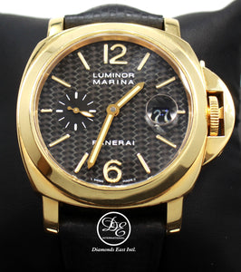 Panerai Luminor Marina PAM140 18k Yellow Gold Carbon Fiber Dial BOX/PAPERS