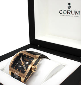 Make: CORUM  Model: 207.201.05/0F01 0000 Includes: The Original Boxes, Papers Were Misplaced. We will include a certified appraisal with the matching serial number.  Condition: Pre owned, MINT CONDITION. WAS FULLY SERVICED BY Corum.    Movement: Automatic Movement Water-Resistance: 100 Meters/ 330 feet Material:  18k Rose Gold  Case Size: 52mm X 42mm Crystal: Sapphire Crystal (Scratch Resistant) Dial: Skeleton Dial with Center Bridge Bracelet: Black Leather Band  Clasp:  18k Rose Gold Deployment Buckle