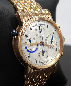 CHRONOSWISS Tora CH7421R Chronograph 18K Rose Gold 38mm Silver Dial Watch