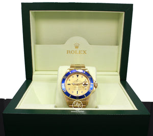 Rolex Submariner 16618 18k Yellow Gold FACTORY SERTI Blue Sapphires Diamonds Dial