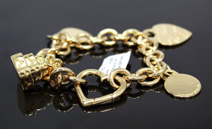 Tiffany & Co. Heart Tag Charm 18K Yellow Gold Link Bracelet *MINT CONDITION*