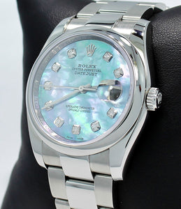 Rolex Datejust Oyster 116200 36mm Diamond Blue MOP Dial